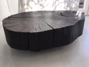 Ellealoeil design Table basse en bois brulé